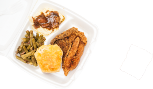 Catfish, green beans, mashed potatoes and a biscuit.